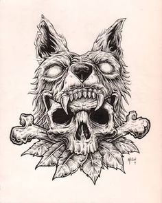 Resultado de imagen para wolf skull illustration