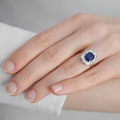 2.2 CT Cushion Blue Sapphire Princess Diana Engagement Ring 14k White Gold Over #RegaaliaJewels #RingSet