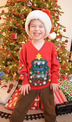 DIY Ugly Christmas Sweater for Your Kids - 13 DIY Ugly Christmas Sweaters   Perfect Ugly & Funny Handmade Costumes by Pioneer Settler at http://pioneersettler.com/diy-ugly-christmas-sweaters/