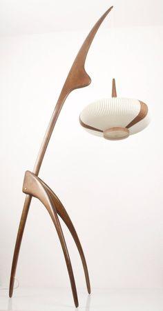 French Rispal Praying Mantis Floor Lamp Light Teak by Lamp Light, Floor Lamp, Wood Lamps, Lamp, Floor Lights, Ceramic Light, Vintage Lamps, Modern Floor Lamps, Vintage Floor Lamp