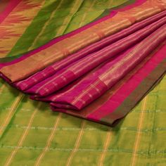 Venkie Reddy Citron Green Handwoven Gadwal Kuttu Weave Silk Saree with Checks & Temple Zari Border 10002137 - profile - AVISHYA.COM