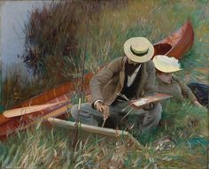 An Out-of-Doors Study depicting Paul César Helleu sketching with his wife Alice Guérin by John Singer Sargent This beautifully expressive and intimate painting is usually housed in. John Singer Sargent, Sargent Art, Sculpture Textile, Google Art Project, Renoir, Anime Comics, Famous Artists, American Artists, Art Google