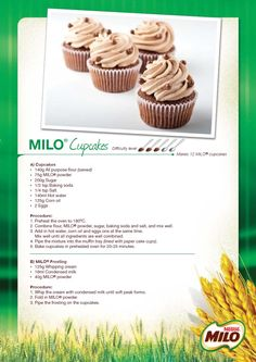 Milo cupcakes - works The same with Ovomaltine or Oreo Muffin Recipes, Cupcake Recipes, Baking Recipes, Cupcake Cakes, Dessert Recipes, Cup Cakes, Food Cakes, Milo Recipe, Milo Cake
