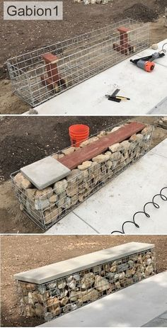 Garden Design Layout - New ideas Modern Landscaping, Backyard Landscaping, Outdoor Projects, Garden Projects, Gabion Retaining Wall, Gabion Baskets, Fire Pit Seating, Backyard Patio Designs, Garden Seating
