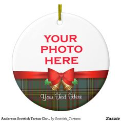 Anderson Scottish Tartan Christmas Photo Double-Sided Ceramic Round Christmas Ornament
