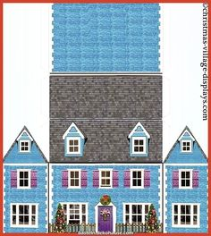 printable christmas house template bluebell cottage - Printable Pages Christmas Village Display, Christmas Village Houses, Christmas Villages, Cottage Christmas, Victorian Christmas, Paper Doll House, Paper Houses, Putz Houses, Diy Paper