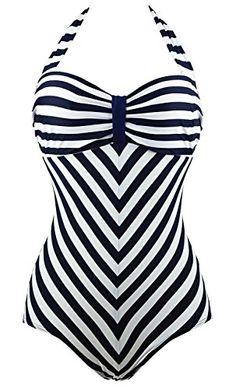 43da144178 JL Pretty Vintage Black White Striped Monokinis Swimwear Swimsuit for Women  XXL     You