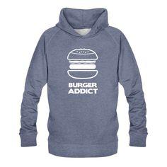 """pour les amoureux, les accros du burger. Sweat-shirt à capuche bio Homme """"burger addict"""" Sweat-shirt à capuche bio Homme Taille normalSweat-shirt à capuche à manches raglan avec un passe-fil pour écouteurs. Pour hommes. 85 % coton bio, 15 % polyester. Marque : Stanley & Stella"""