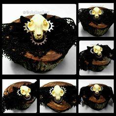 Steampunk Cat Skull Choker Steampunk Cat Skull by OpheliasChest