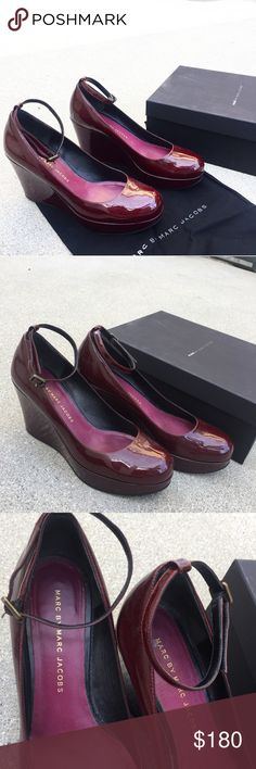 NWB Marc by Marc Jacobs Burgundy Wedge Heels Marc by Marc Jacobs Burgundy Wedge Heels Patent Leather Pumps. New with box but bottom is a bit dirty. Size 38 or 7. Marc by Marc Jacobs Shoes Wedges