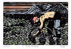 Clam Digger Hand Pulled Linoleum Block Print by ColorOnPaper, $25.00