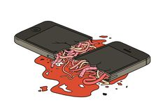 illustration and concept of cell phone showing guts. Can relate to the addiction of a cell phone is your life, it breaks, so do you Mobile Phone Shops, Mobile Shop, Matt Blease, Broken Phone, Foto Gif, Satirical Illustrations, Digital Detox, Skateboard Design, Pop Art