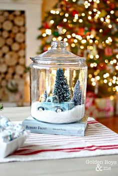 Holiday Home Tour 2014 DIY snow globe made with glass cookie jar-www.goldenboy… The post Holiday Home Tour 2014 appeared first on DIY Crafts. Diy Snow Globe, Christmas Snow Globes, Christmas Jars, Homemade Christmas Gifts, Winter Christmas, Christmas Holidays, Merry Christmas, Snow Globe Crafts, Christmas Vacation