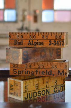 reclaimed crafts: vintage yard sticks = business card holders