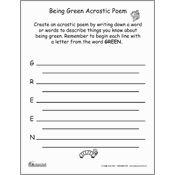Being Green - Acrostic Poem Printable