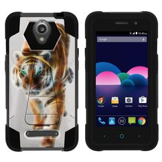 ZTE Obsidian Case, Z820 Hard Case [SHOCK FUSION] High Impact Hybrid Dual Layer Shell Case with Hard Kickstand by Miniturtle® - Blazing Tiger