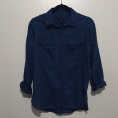 J. Crew Indigo Chambray Shirt Excellent condition. Light-weight chambray. Beautiful hue of blue with contrast buttons. Cotton. Chest pockets. J. Crew Tops Blouses