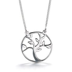"""Stunning sterling silver open design pendant with tree outline inside pendant attached to a sterling silver chain.· Chain: 19"""" L with spring ring closure· Pendant: 3/4"""" diam.· ImportedSTERLING SILVER is the standard for fine silver jewelry in the world over. Only Sterling Silver can be stamped with a """"fineness mark"""" of .925 indicating its high quality."""