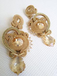 Statement jewelry soutache set; Jewellery set; Soutache gold set; Wedding…