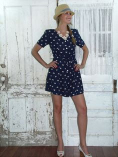 Early 1990s blue mini skort dress by The Limited - $34.99