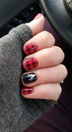 My festive jams!  Friday Flannel and Into the North with Trushine Gel over the top! Love Nails, Fun Nails, Pretty Nails, How To Do Nails, Style Nails, Holiday Nails, Jamberry Nails Christmas, Xmas Nails, Christmas Nail Art