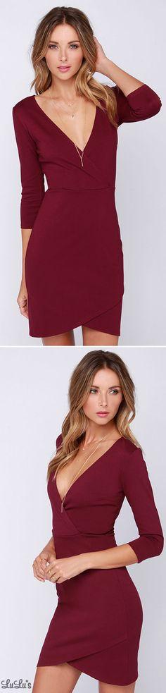 LULUS Exclusive Lean Into It Burgundy Dress