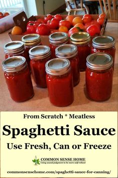 This meatless homemade spaghetti sauce recipe from fresh or frozen tomatoes is slow cooked and loaded with flavor. May be used fresh, canned or frozen. Canned Salsa Recipes, Home Canning Recipes, Fresh Tomato Recipes, Pasta Sauce Recipes, Pasta Sauces, Canned Artichoke Recipes, Canned Foods, Canning Tips, Kitchen Recipes