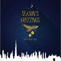 christmas and new year vector greeting card with dubai uae skyline