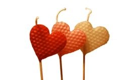 Heart Shaped Candles Three Tall Beeswax Heart by HudsonScout, $32.00