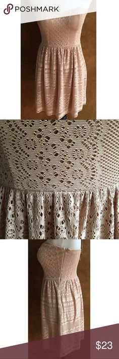 """NWT! Mystic Blush Crochet Lace Dress Size Small MYSTIC  Nude Strapless Lace Boutique Dress  Padded bust  Elastic back, side zip  Fully lined  Size Small  NWT $46 Retail  Shown on a medium size mannequin  Approximate flat measurements:  Chest 25.5""""  Length 25"""" Mystic Dresses Strapless"""