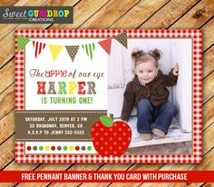 Apple Birthday Photo Invitation - Red Gingham - Printable - Free Thank You Card and Pennant Banner - Find us on Facebook! https://www.facebook.com/pages/Sweet-Gumdrop-Creations/157015321151666