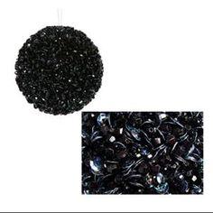 "Lavish Black Fully Sequined & Beaded Christmas Ball Ornament 3.5"" (90mm)"