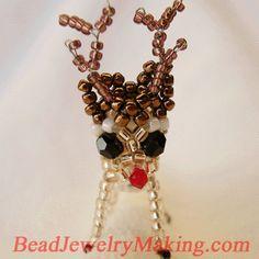 Beaded 3D reindeer pattern.
