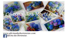 Minhas obras de pintura em tela enfatizando as hortênsias de Gramado