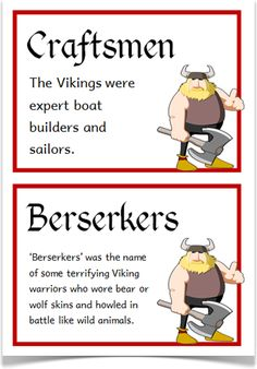 The Vikings Fact Cards - Treetop Displays - EYFS, KS1, KS2 classroom display and primary teaching aid resource