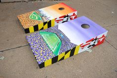 Side View of the Ravens/Orioles Stadium designs Maryland flag with Natty Boh on the sides of each side.  Custom Cornhole Game Board Master piece.