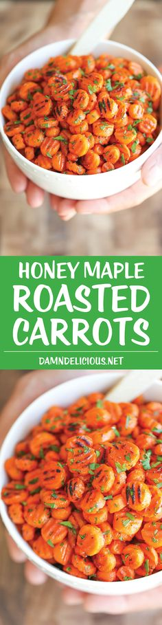Honey Maple Roasted Carrots - An easy simple side dish to accompany any meal, tossed in olive oil, maple syrup, honey and herbs. Just 5 min prep. --added an extra drizzle of maple syrup Side Dish Recipes, Vegetable Recipes, Vegetarian Recipes, Cooking Recipes, Healthy Recipes, Meal Prep Recipes, Vegetarian Side Dishes, Vegetarian Meal Prep, Roast Recipes