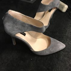INC Grey, Suede 4inch heels Only worn inside an office building/only worn a handful of times. Size 8.5. INC International Concepts Shoes Heels