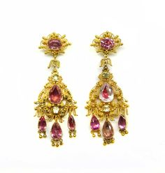 - Pair of early 19th century cannetille gold and pink foiled topaz pendant earrings, English c.1820,