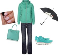 casual on a rainy day, created by lafujiko on Polyvore