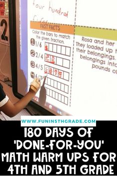 "180 Days Of ""Done-For-You"" Math warm ups for 4th and 5th grade!  If you are tired of struggling to come up with math warm ups day after day read all about these perfect 10-15 minute math warm ups to use in your 4th or 5th grade classroom.  This post explains all the benefits of math warm ups and how to effectively use these in your classroom!"
