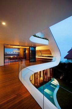 A sense of romance and fluidity is created through the soft curves of this balcony. (Via: @Miri Kontsedalov Smit)