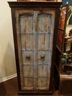 blue upcycled door cabinet . etsy.com
