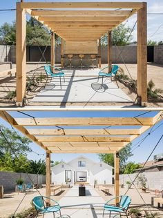In this backyard, there's a patio and bar area under a wood pergola. Looking back towards the house, there's plenty of space for entertaining.
