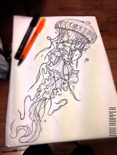 Piercings and Tattoos - jellyfish tattoo sketch design Jellyfish Tattoo, Jellyfish Drawing, Watercolor Jellyfish, Jellyfish Painting, Tattoo Watercolor, Abstract Watercolor, Future Tattoos, New Tattoos, Tattoo Ideas