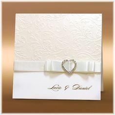 Elegantní svatební oznámení se srdcem z krystalů