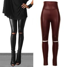MCKINNLEY cut out slick leggings  - BURGUNDY CUTOUT KNEE FAUX LEATHER LEGGINGS. 92% POLYESTER 8% SPANDEX. MADE IN USA. AVAILABLE IN BURGUNDY & BLACK NO TRADE, PRICE FIRM Bellanblue Pants Leggings