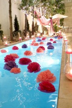 Make poms out of plastic table cloths to float in the pool! How FUN for a summer birthday or even a half-year birthday party celebration ! OR for a pool party for Tweens and teens! Grad Parties, Holiday Parties, Birthday Parties, 21st Birthday, Themed Parties, Flamingo Party, Pool Party Decorations, Floating Pool Decorations, Party Centerpieces