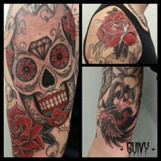 Mexican sugar skull, sparrow & roses tattoo sleeve 8531 Santa Monica Blvd West Hollywood, CA 90069 - Call or stop by anytime. UPDATE: Now ANYONE can call our Drug and Drama Helpline Free at 310-855-9168.