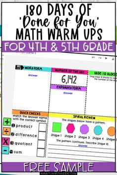 These done for you math warm ups for 4th and 5th grade are the perfect addition to your math block! These math warm ups are the perfect thing to get your students thinking math and ready for your lesson! Find out the most effective ways to use these whole year, done for you math warm ups! Free Sample!